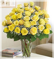 3 Dz Premium Long Stem Yellow Roses Arrangement